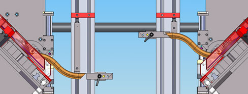 Механические упоры с резом одной пилой для 5-ти  осевого станка с ЧПУ  для зарезки багетной рамки BTTF-E, производство Fiorenza Италия