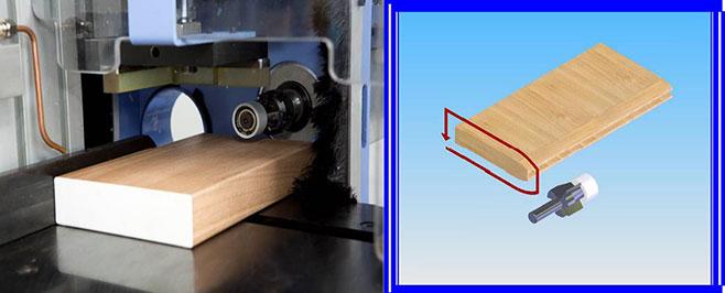 Деталь после обработки группой обрезки свесов наклеенной кромки станка Bord DP, производство Fiorenza (Италия)