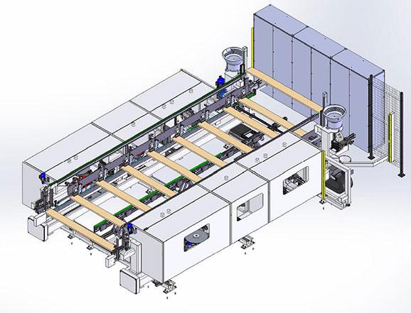 Компоновка линия для обработки поперечин для рамочных фасадов под 90 градусов, производство Fiorenza Италия
