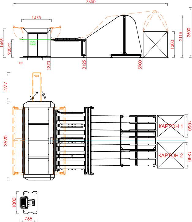 Чертеж рилевочно-просечного станка Panotec Nextmode модель 2.5 (Италия)