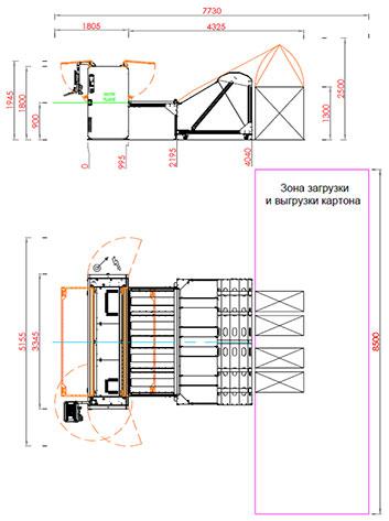 Чертеж рилевочно-просечного станка Panotec EVO модель 2.5 (Италия)