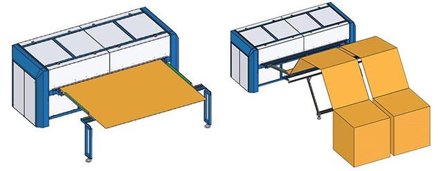 Подача гофрокартона на рилевочно-просечном станке Panotec EVO модель 2.5 (Италия)