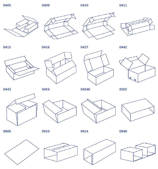 Виды коробок для рилевочно-просечного станка Panotec Nextmode модель 2.5 (Италия)