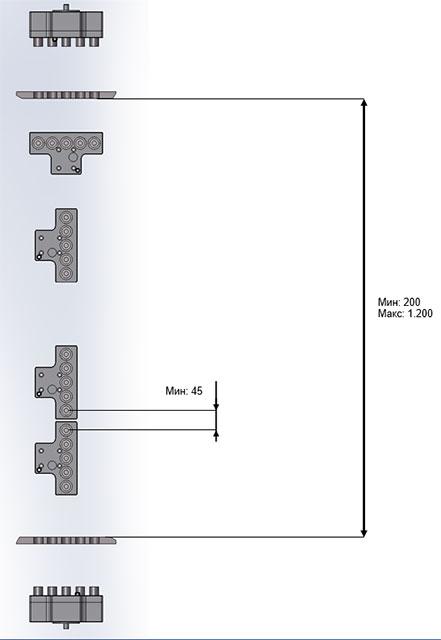 Минимальные и максимальные параметры сверления для головки с шагом 32 х 32 мм станка BL-2, производство Fiorenza (Италия)