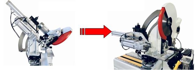 Пневматический поворот сверлильной головы от 45° до 0° станка Teknodoor 3001, производство Balestrieri (Италия)